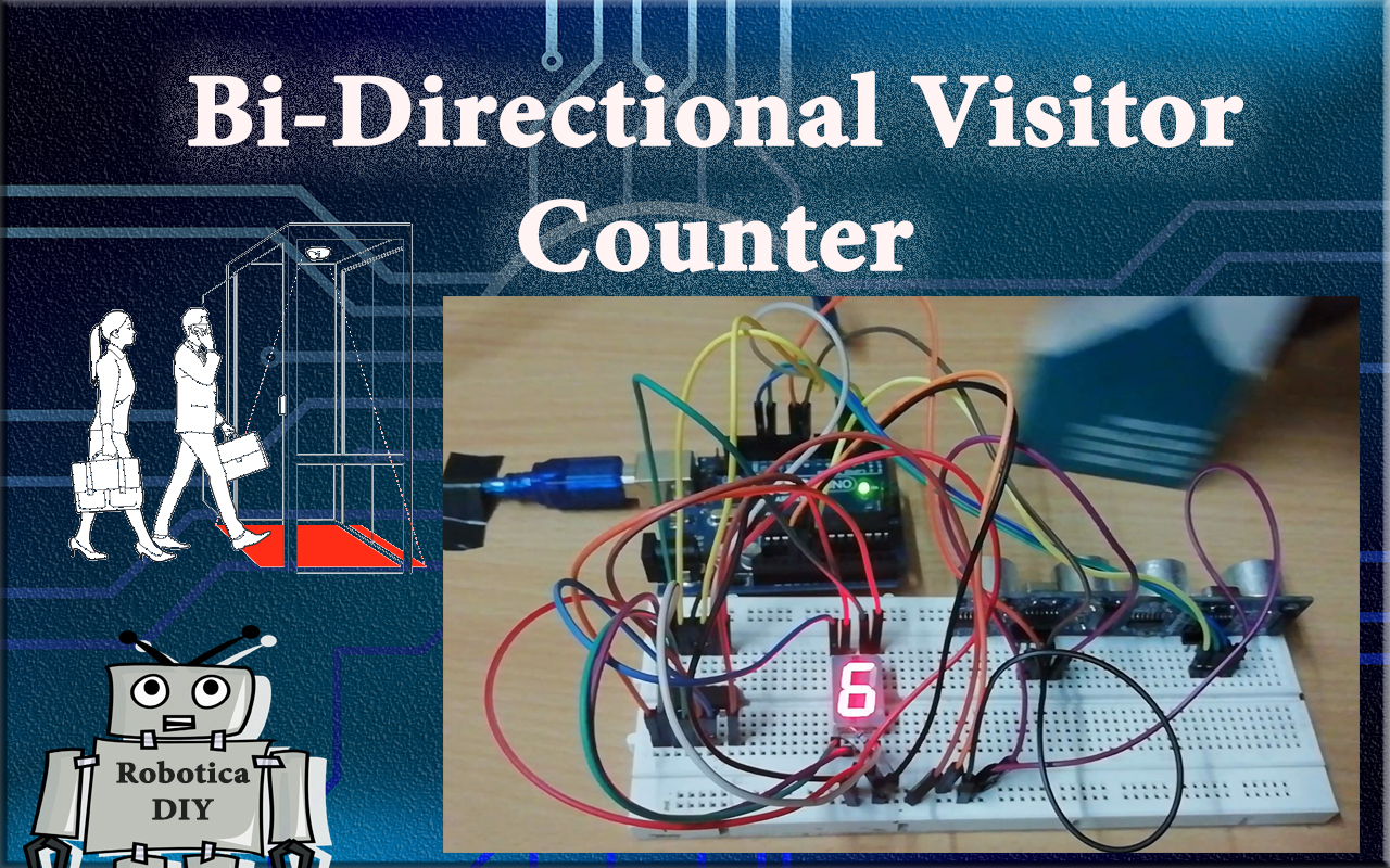 How to make bi-directional counter by using 7 segment display and ultrasonic sensor