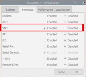 enable VNC