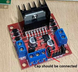 L298N Motor Driver- Enable A Jumper should be connected