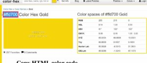 copy HTML code for color