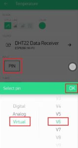 6.Select Pin number for temperature datastream